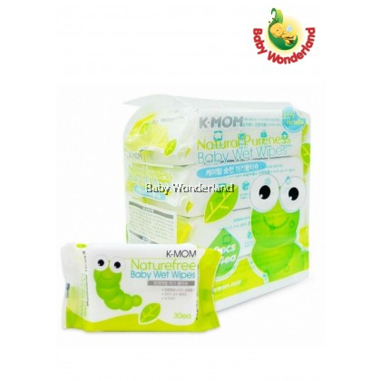 K-MOM NATURAL PURENESS BABY WET WIPES - 30S x 4 packs